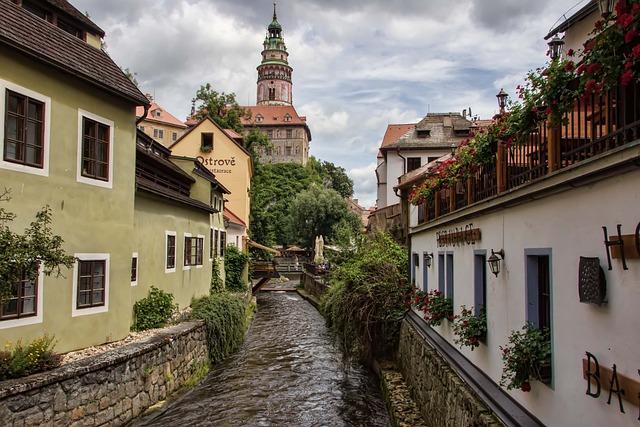 český Krumlov, Czech Republic, City, Country, View