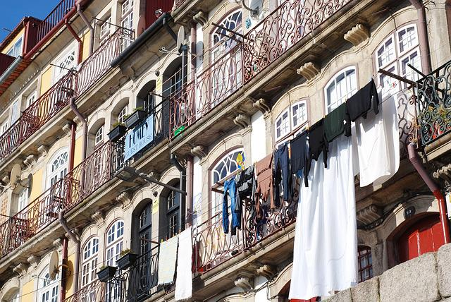 Porto, Streets, City, Portugal, Drying Rack, Houses