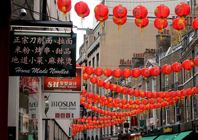 England, Lanterns, China, Street, City, Alley