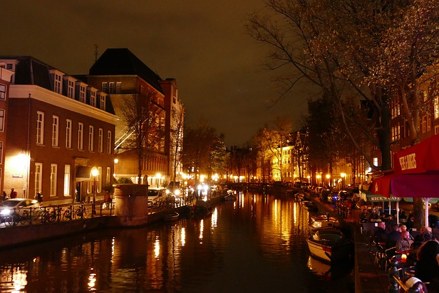 Amsterdam Travel, Water, Evening, Illuminated, City