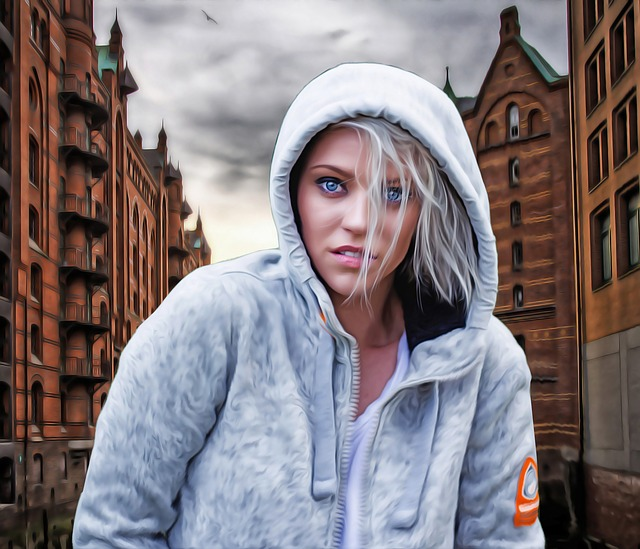Female, Woman, Hooded Woman, Hooded Girl, Urban, City
