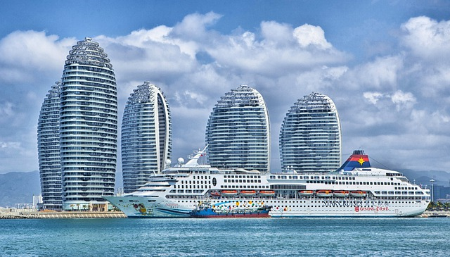 Ship, Hainan, China, Skyline, Ocean Liner, Hdr, City