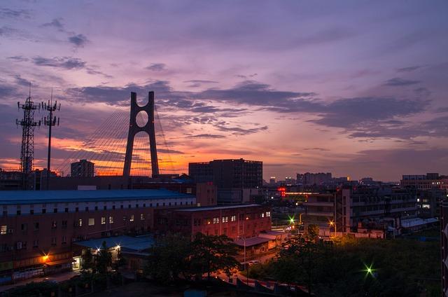 Night View, Twilight, Sunset, City, High Speed Rail