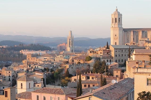 City, Sunset, Girona, Houses, Landscape, Church
