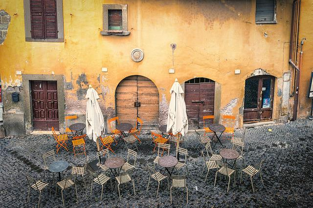 Cafe, City, Downtown, Italy, Parasol, Still Life, Empty