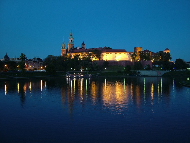 Poland, Krakow, Night, City, Wawel