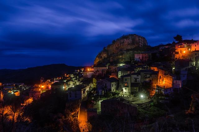 Calabria, Pietrapaola, Night, City, Lights, Lighting