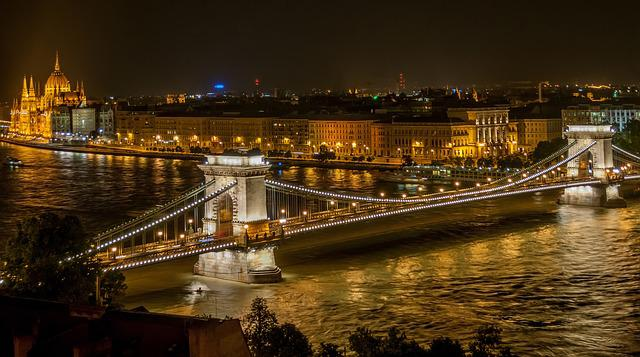 Bridge, River, City, Illuminated, City Lights