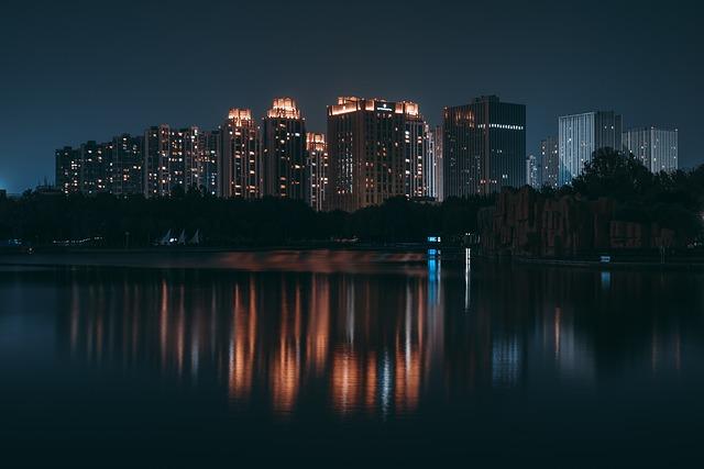 Buildings, City, Lake, City Lights, Skyline, Cityscape