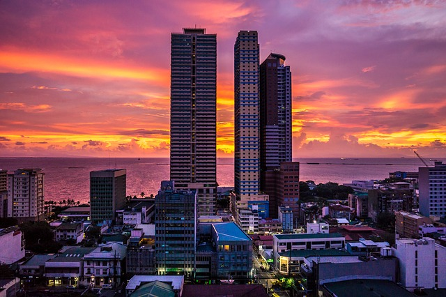 Manila, City, Manila Bay, Big City, Night, Sea, Sunset