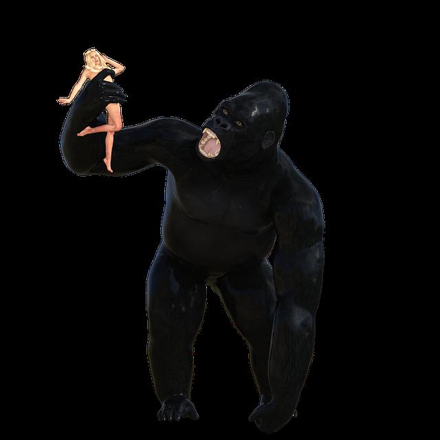 King Kong, Woman, City, Monster, Silhouette