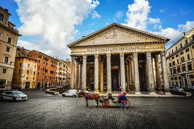 Free Photo City Monument Pantheon Morning Roman Italy Rome