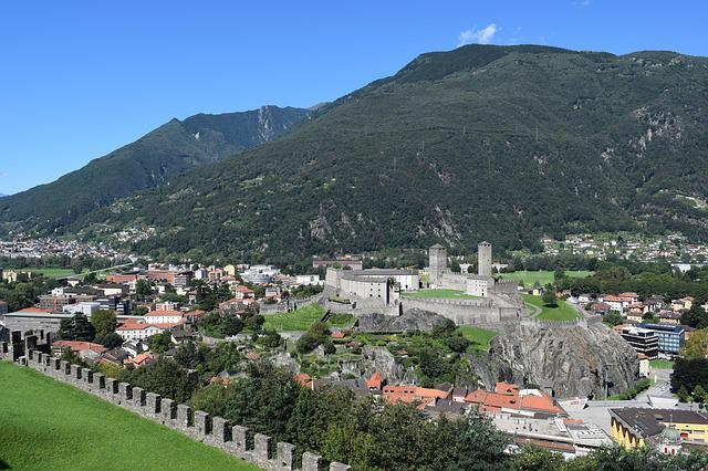 City, Bellinzona, Switzerland, Mountains, Landscape