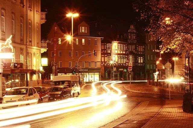 Marburg, City, Night Photograph, Night, Lights