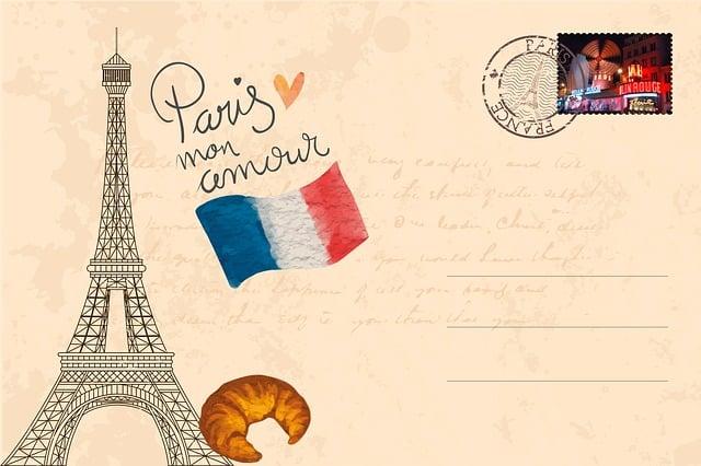 Postcard, Paris, Eiffel Tower, City Of Love, Vintage