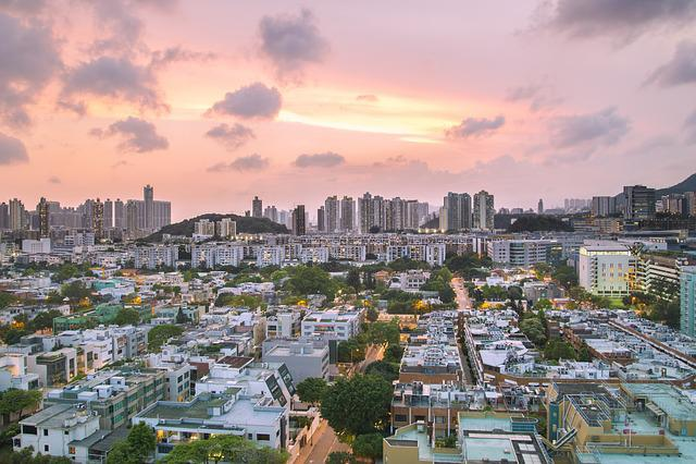 Sunset, Sun, Sky, Urban, City, Purple, Summer
