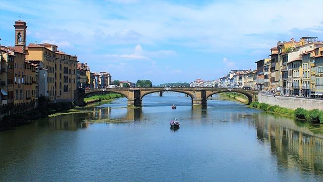 Florence, River, Bridge, City, Houses, Colors