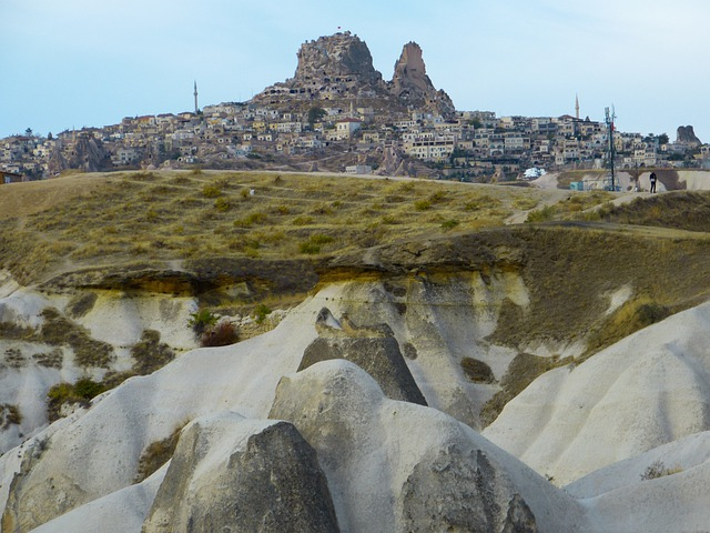 Uchisar, City, Tufa, Rock, Rock Apartments, Cappadocia