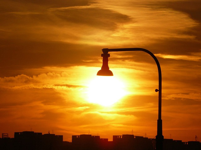 Lamp, Light, Sun, Sunlight, City, Sky, Clouds