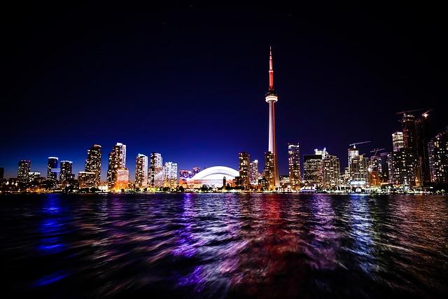 Toronto, City, Cn Tower, Skydome, Skyline, Architecture