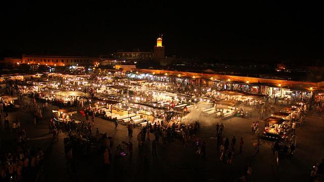 Morocco, Marrakech, Night, Square, City