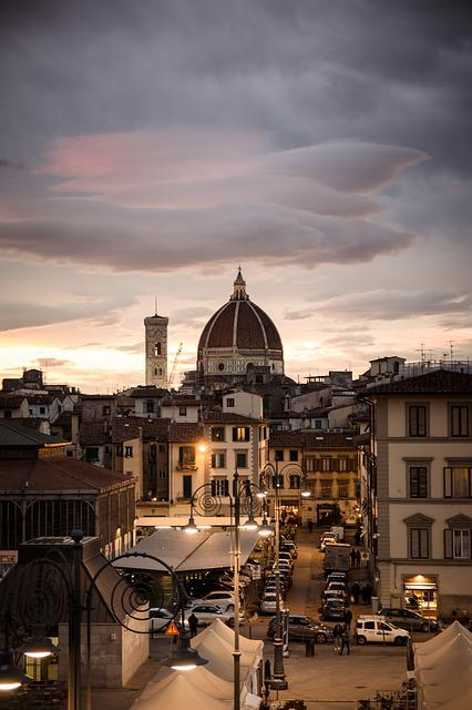 Florence, Evening, City, Street, Sunset, Roofs, Outlook