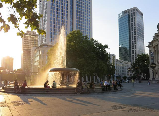 Frankfurt, City, Light, Fountain, Summer, Bright
