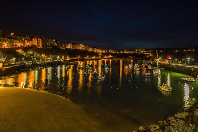 Port, Night, City, Ships, Tenby, England