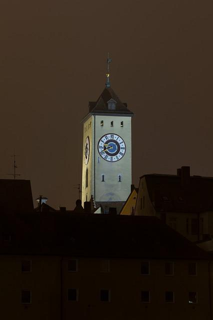 Regensburg, City Tower, Night