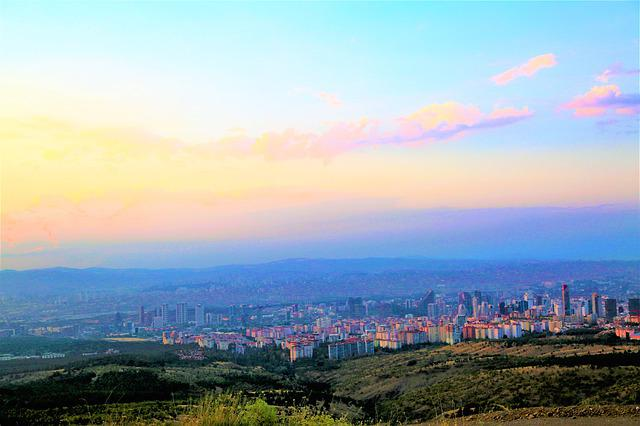 Ankara, Turkey, City, Landscape, Sky, In The Evening