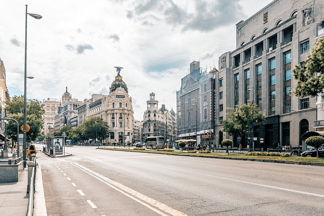 Madrid, City, Road, Sky, Clouds, Building, Urban
