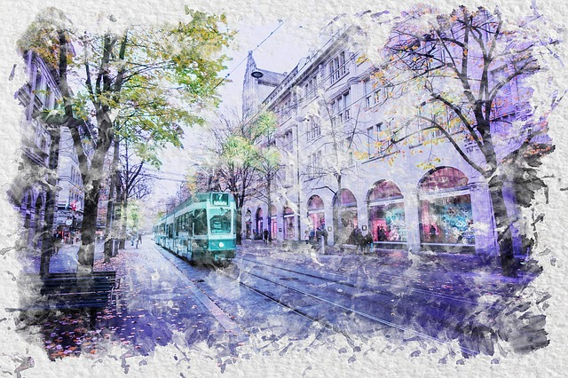 Watercolor, City, Street, Building, Architecture
