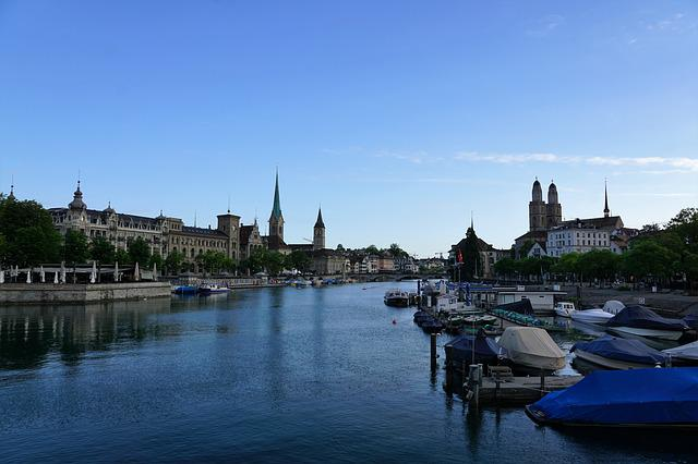City, Europe, Zurich, Switzerland, Summer, River