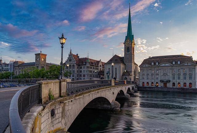 Bridge, City, River, Zurich, Switzerland, Architecture