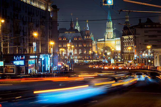ночь, город, Moscow, City, Russia, Architecture, Style