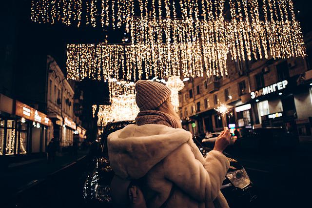Winter, City, Citylights, Lights, Girl, Christmas