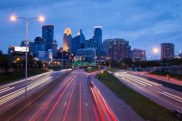 Minneapolis, City, Urban, Traffic, Night, Cityscape