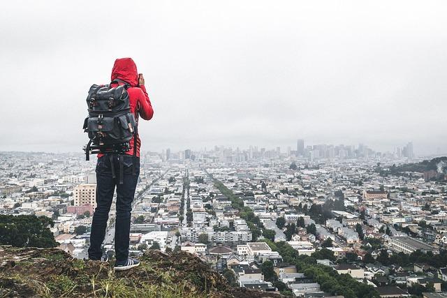 Buildings, City, Cityscape, Hiker, Person, Photographer