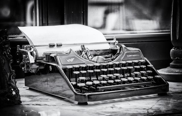 Typewriter, Write, Tap, Keys, Paper, Clamping, Type