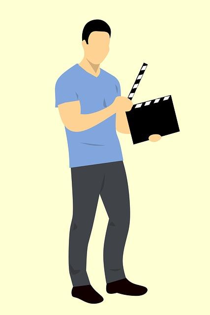 Man, Holding, Clapper, Film, Clapboard, Movie, Cinema
