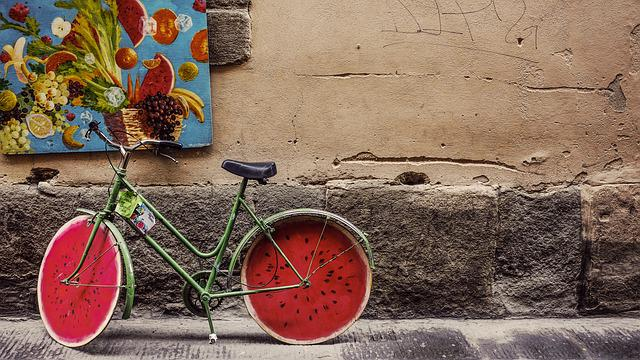 Bicycle, Bike, Brick, Classic, Concrete, Fruits, Old