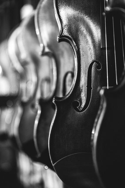 Antique, Violins, Classical Music, Black And White