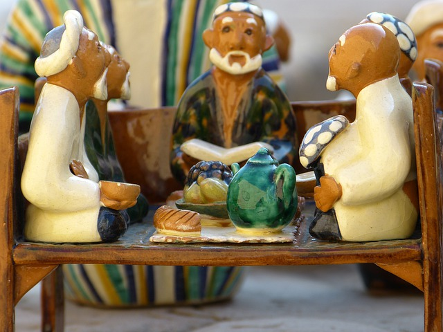 Clay Figure, Men, Group, Tea House, Sit, Meeting, Talk