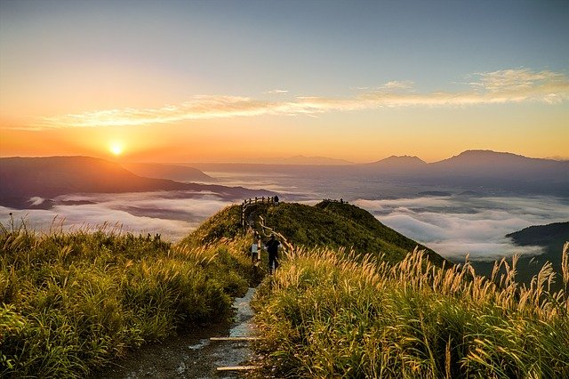 Pathway, Mountain, Grass, Cliff, Plants, Cloudscape