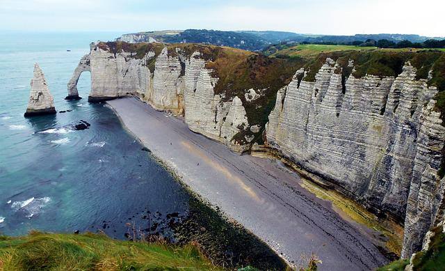Nature, France, Etretat, Cliff, Sea, Beach Pebble