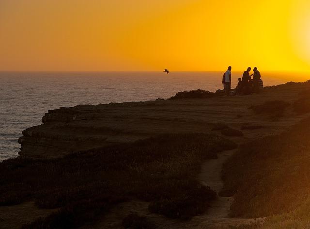 Sunset, Ocean, Cliff, Horizon