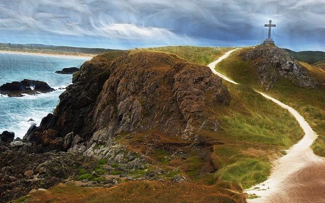 Wales, Welsh, Sea, Cross, Cliff, Sky, Rock, Ocean