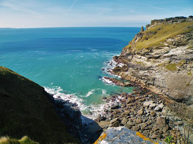 Cliff, See, Ocean, Rock, Sky, Tintagel, Uk