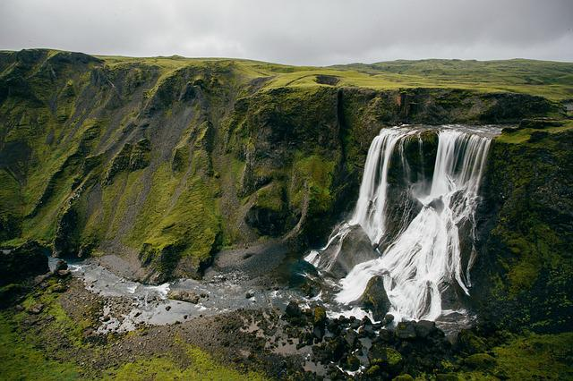 Waterfalls, Cliff, Iceland, Grass, Landscape, Nature