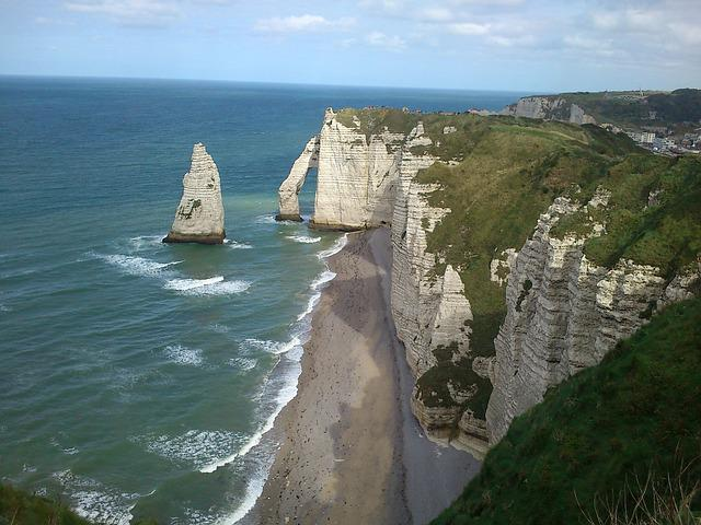 étretat, Normandie Region, France, Cliffs, Sea, Summer